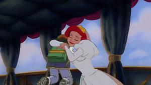 Ariel gives Ash a loving hug in her wedding dress