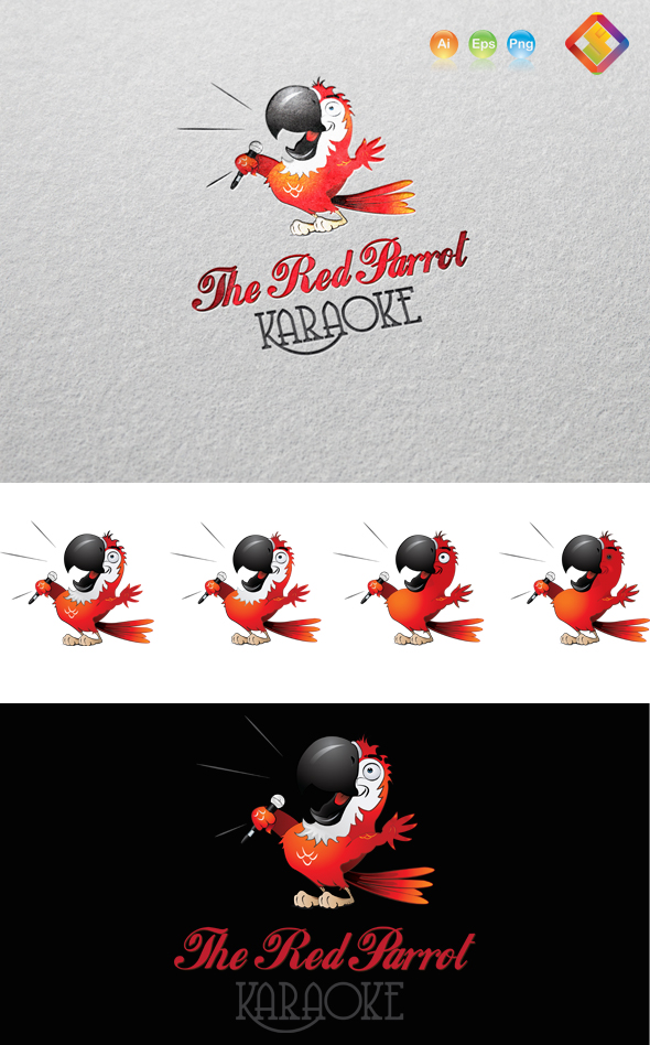 Red Parrot Karaoke Logo by LuisFaus