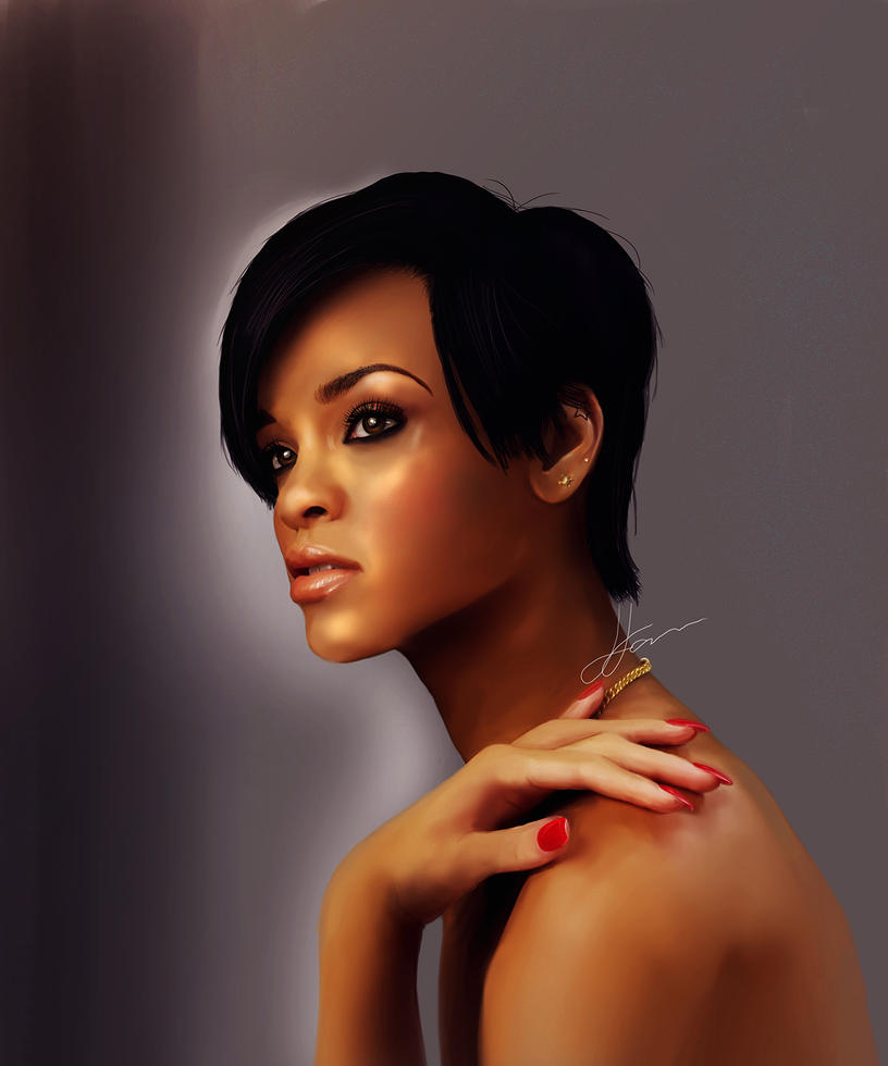 Rihanna Digital Portrait by LuisFaus