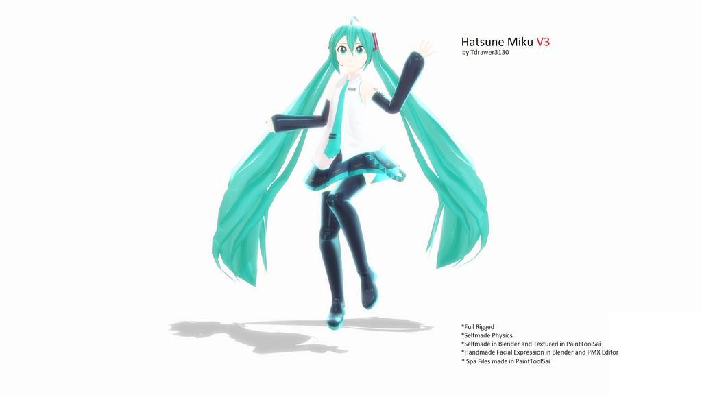 [MMD] Hatsune Miku V3 by Tdrawer3130 *EDit* + DL by Tdrawer3130