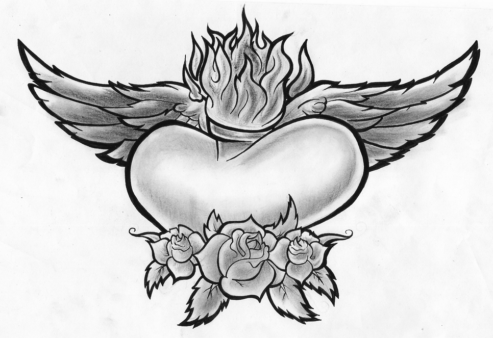 coloring pages of hearts with wings - heart wings roses by porkhunt on deviantart