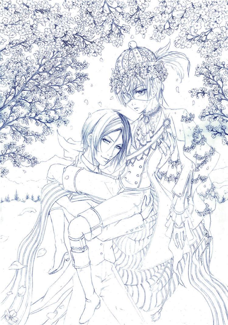 SEBASTIAN x CIEL - Sketch - Sakura by Shinkan-Seto