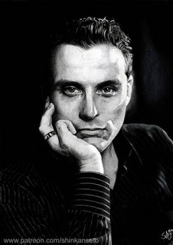 RUFUS SEWELL - portrait drawing - black and white
