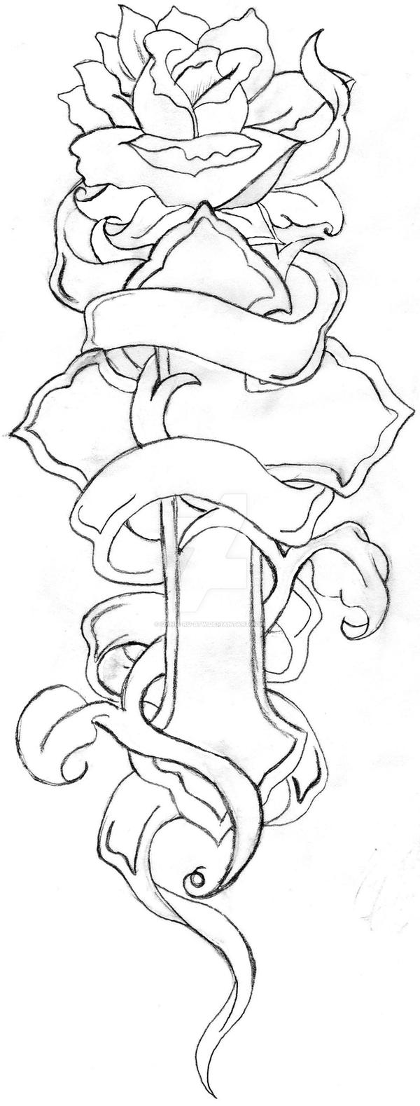Line Art Rose Tattoo : Cross and rose line drawing by danie ru btw on deviantart