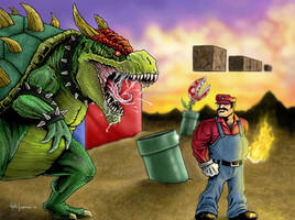 Mario vs Bowser by LabrenzInk