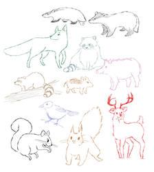 animal sketches by MrsAdler666
