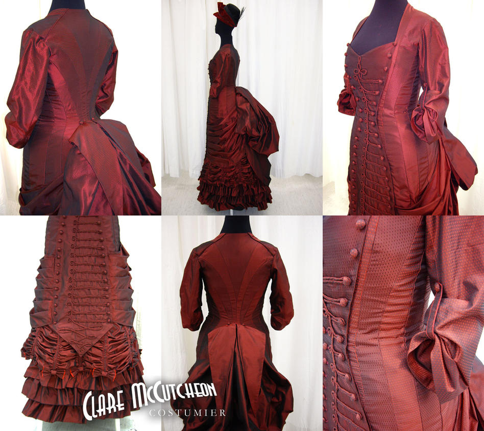 1885 Red Silk Bustle by CostumierClare