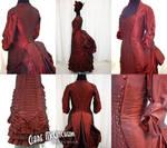 1885 Red Silk Bustle