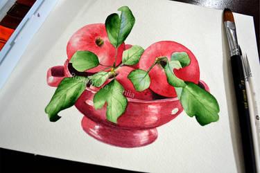 Watercolor apples by Rustamova
