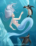 Mermaid With Penguins - COLOR