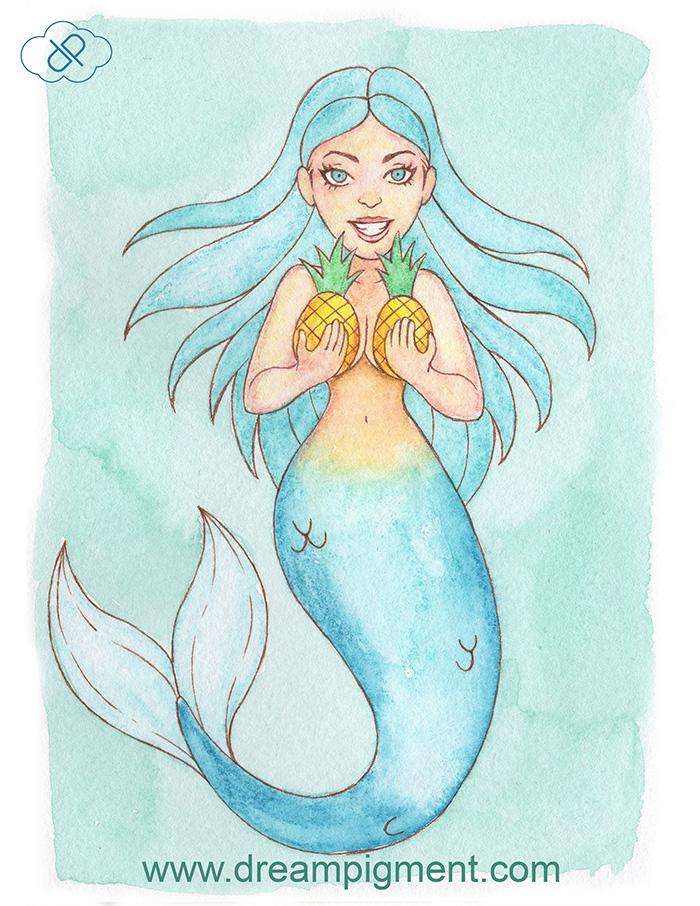Pineapple Mermaid - MerMonday June 4th 2018 by DreamPigment