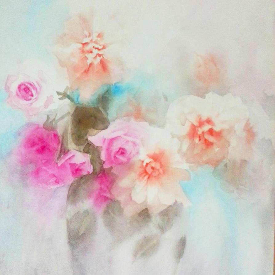 Roses in watercolors by Ayjee