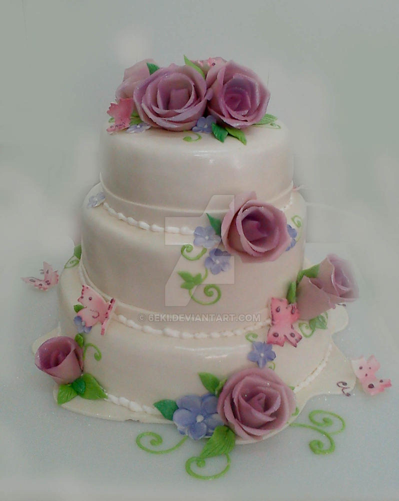 Roses and Butterfly Wedding Cake by 6eki