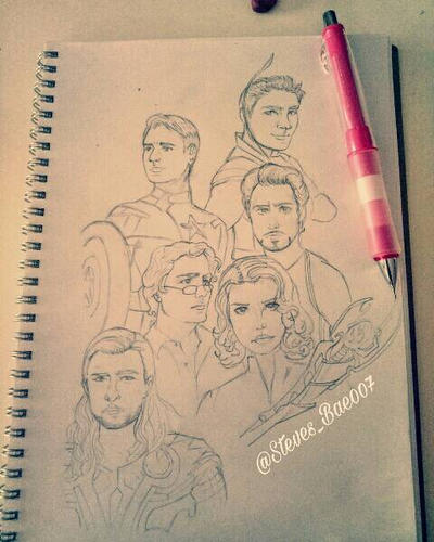 The Avengers (Uncolored ver)  by LOVESTEVEROGERS