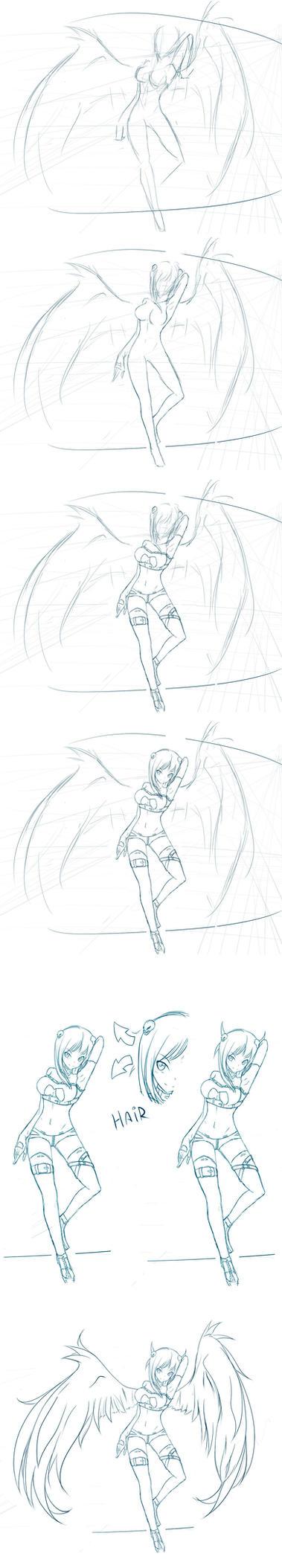 Sketch steps - W.I.P Linette 2 by Rinine