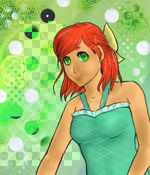 Starfire in a nice green dress by nekoampy