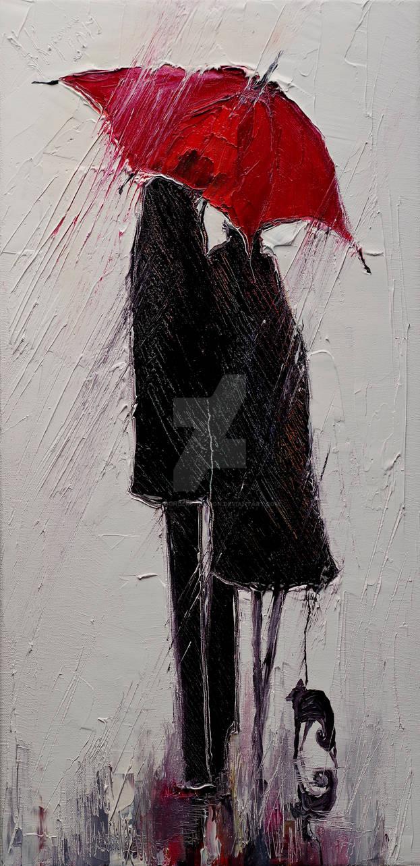Red Umbrella and Black Cat