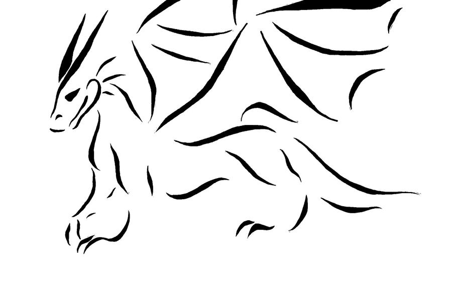 Dragon Line Drawing Easy : Line dragon by silverchaos on deviantart