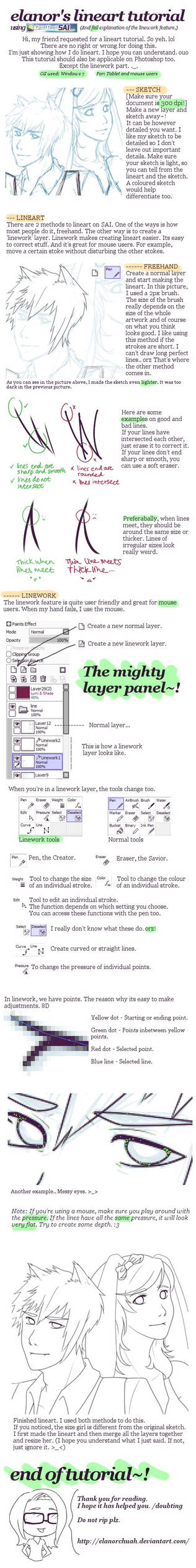 Lineart Tutorial using SAI