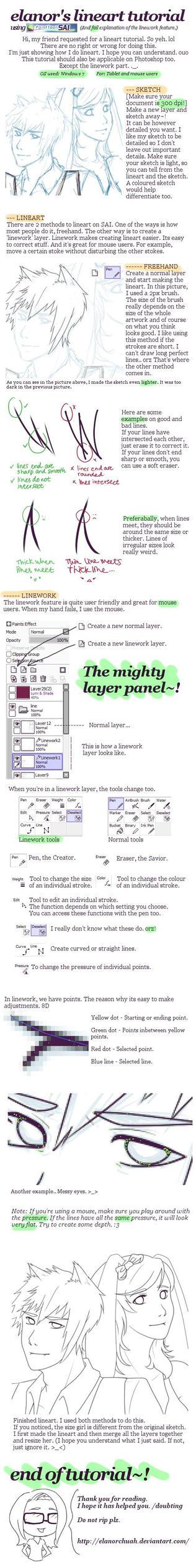 Lineart Tutorial using SAI by elanorchuah
