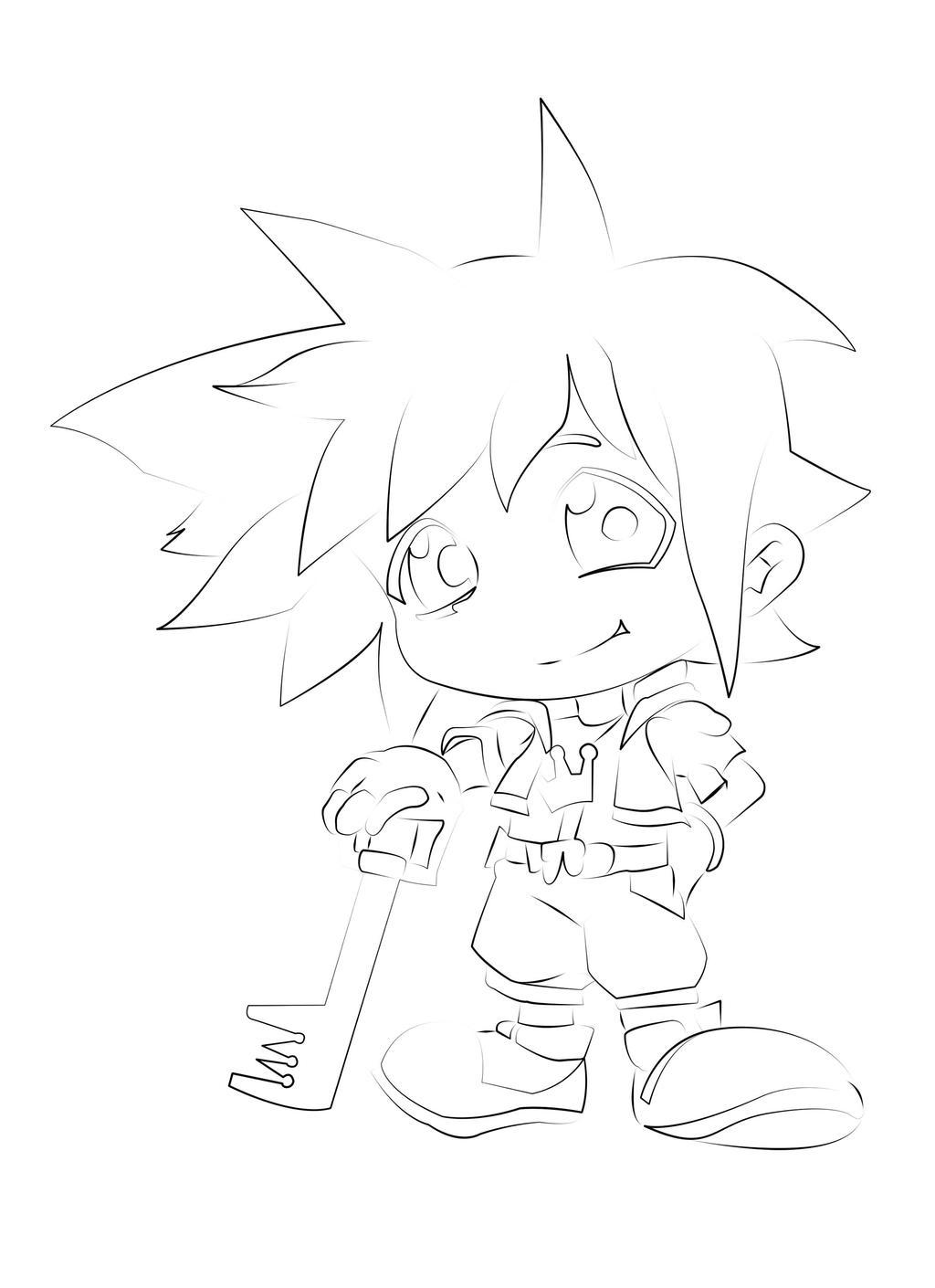 Sora Kingdom Hearts Lineart : Sora chibi kingdom hearts lineart by kojidark on deviantart