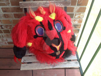 Fire Bunny Fursuit Head