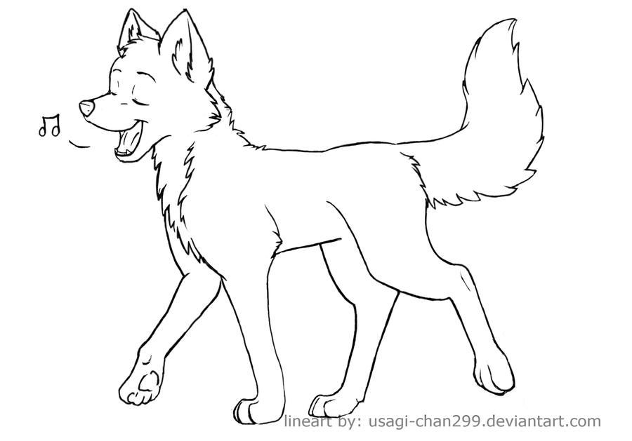 Free lineart -singing canine- by PurplePandog