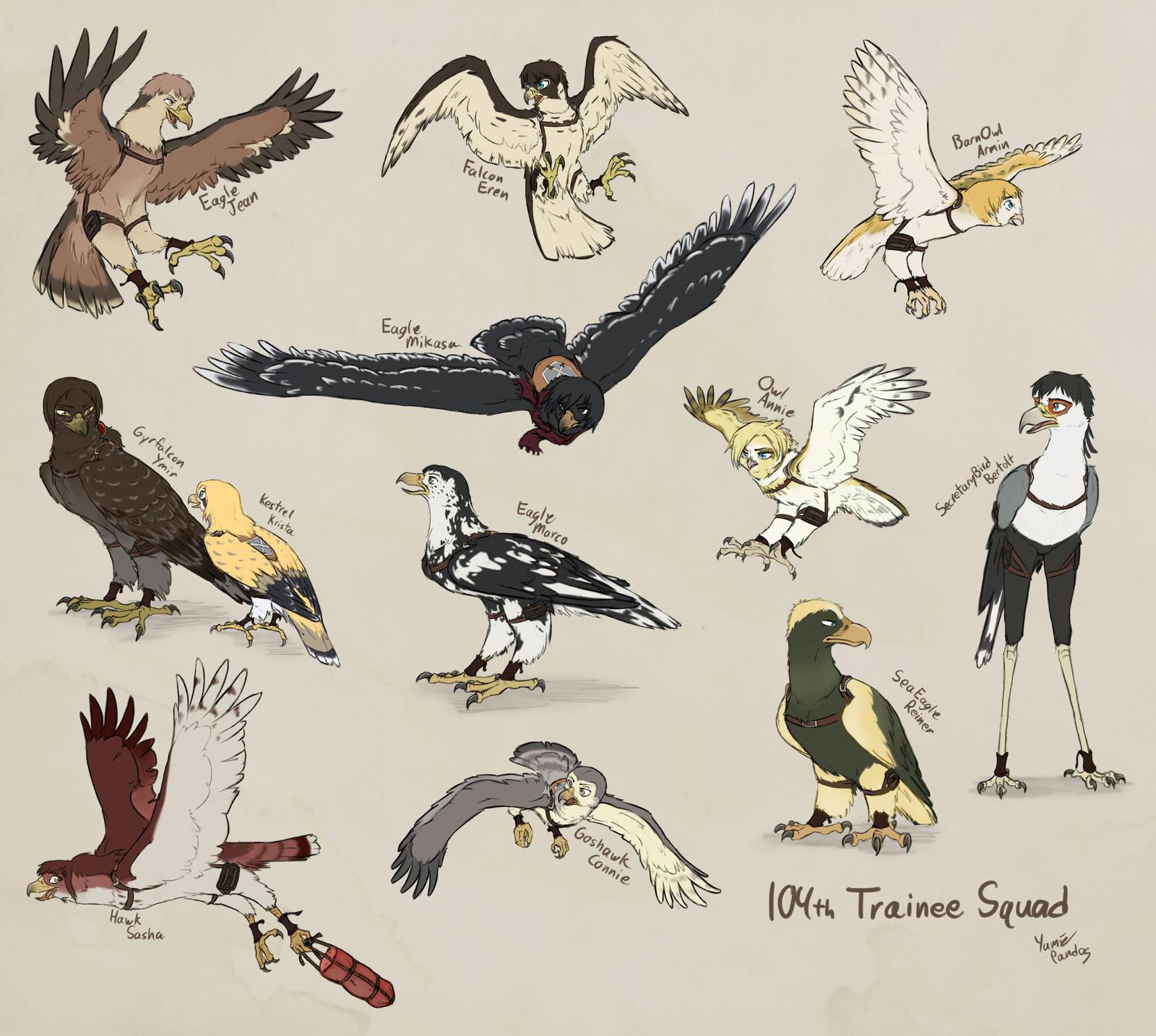 SnK birds of prey: 104th Trainee Squad by PurplePandog