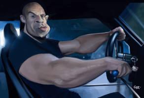 Vin Diesel caricature by GuillermoRamirez