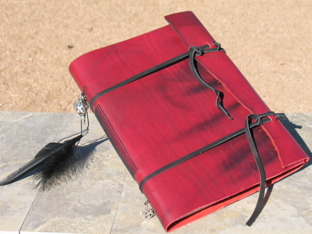 Hand Bound Red Leather Morrigan Journal by Ravens-Eye-Studio