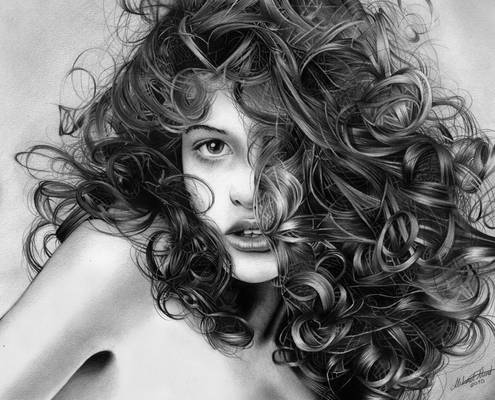 Playful curls - Pencil drawing