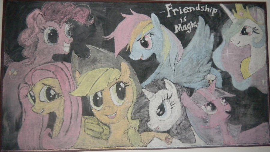 Mane Six in Chalk Form by MOGNECIOtheBRAVE