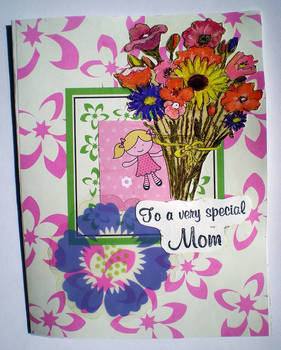 Special Mom Greeting Card-Girl with Flowers