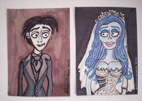 Corpse Bride Victor and Emily ATCs 3.22.16