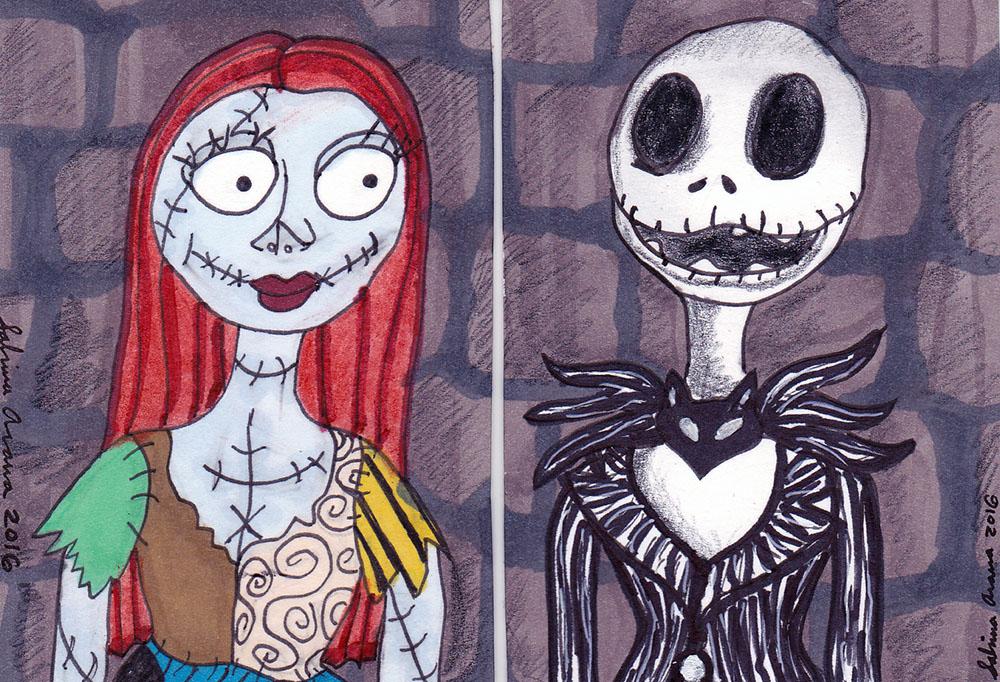 Nightmare Before Christmas Jack and Sally set by Dreamerzina