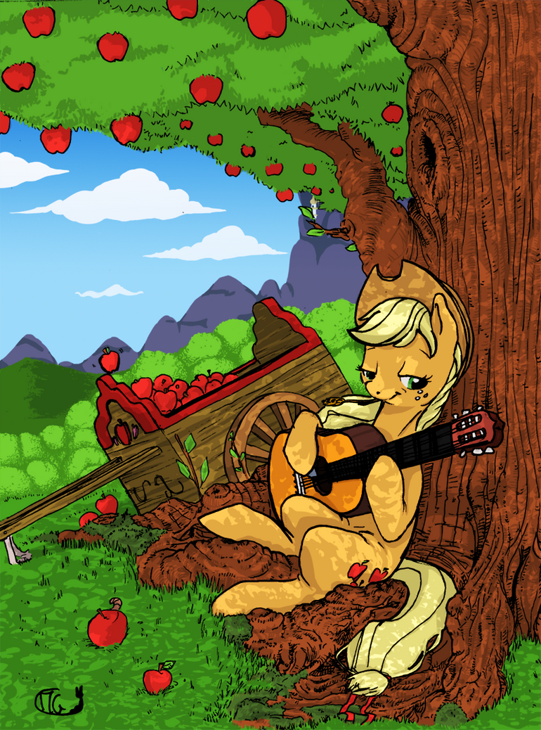 Applejack under a tree by GiMoody