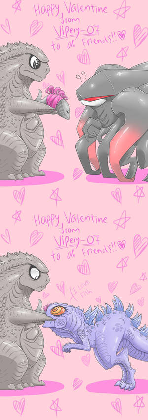 Godzilla2014: Happy Valentine Card !!