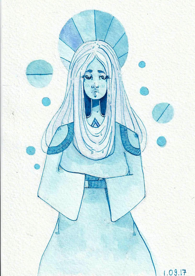 Watercolor+ink fan art darwing of Blue Diamond from Steven Universe