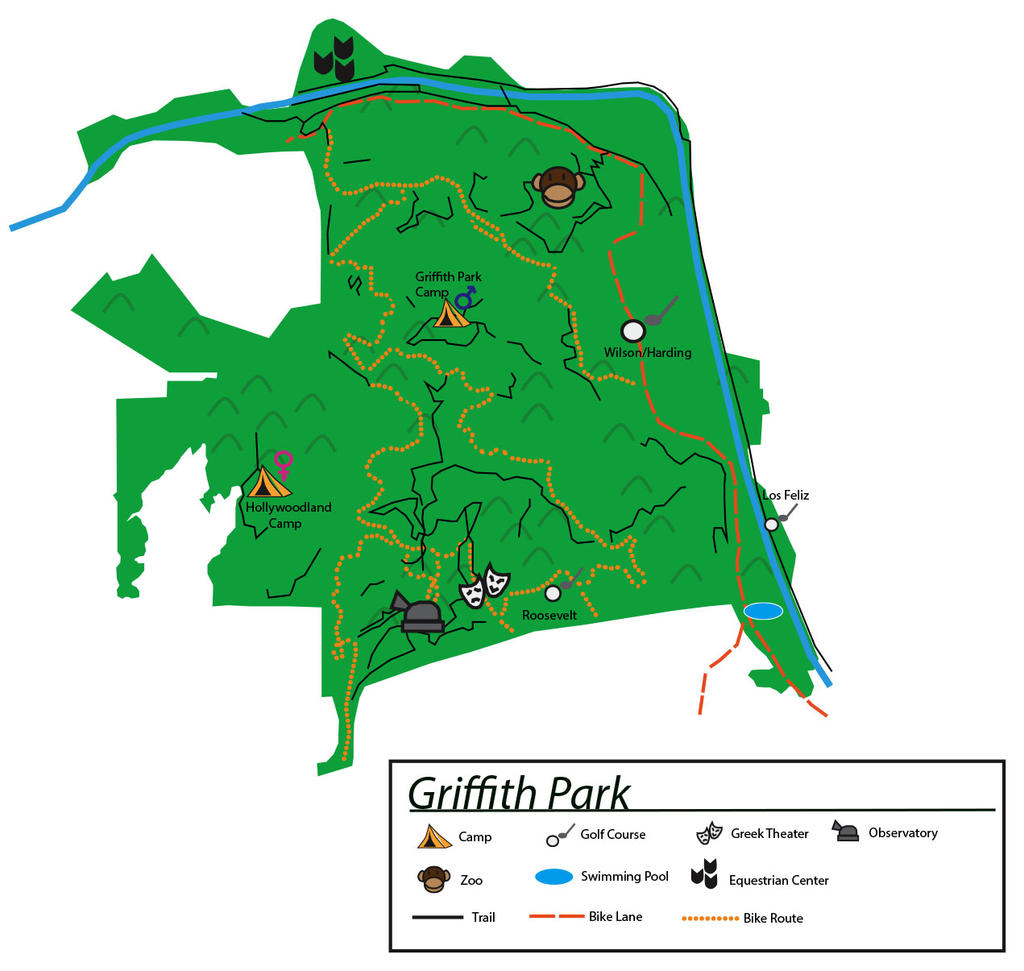 Griffith Park Map Hiking Trails Images