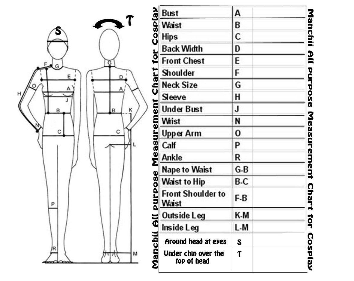 Measurment Chart For Costumes By Franchii Manchii On