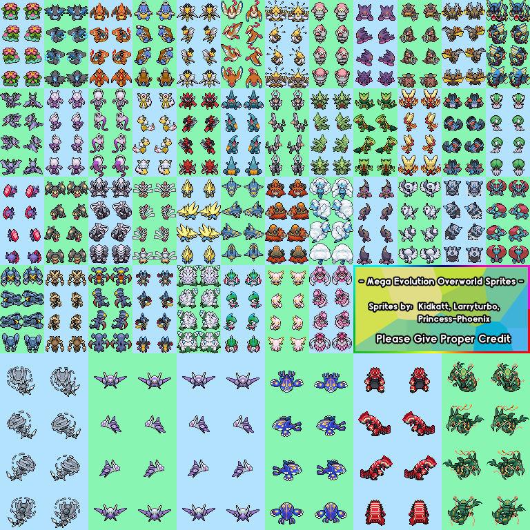 Mega Evolution Pokemon Overworld Sprites by Larryturbo on