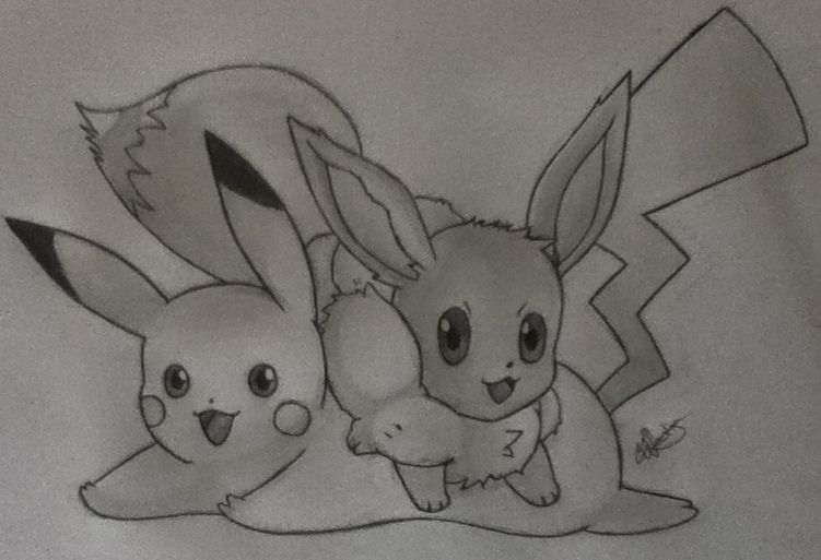 Pikachu and Eevee by Conzibar