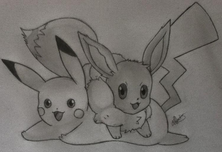 Pikachu and Eevee by Conzibar