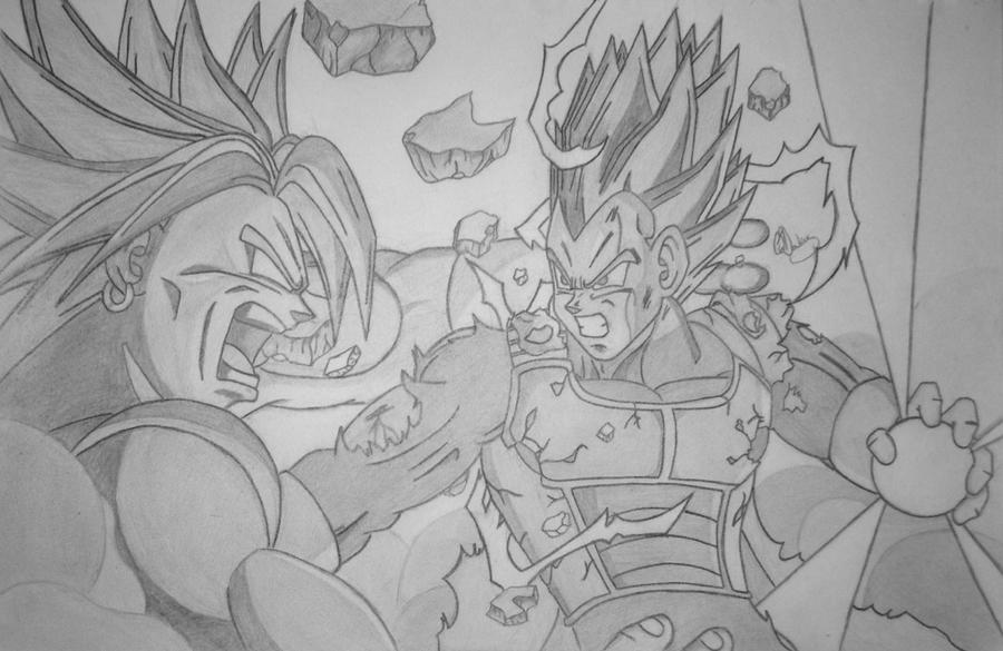 Broly VS Vegeta SSJ2 by Conzibar