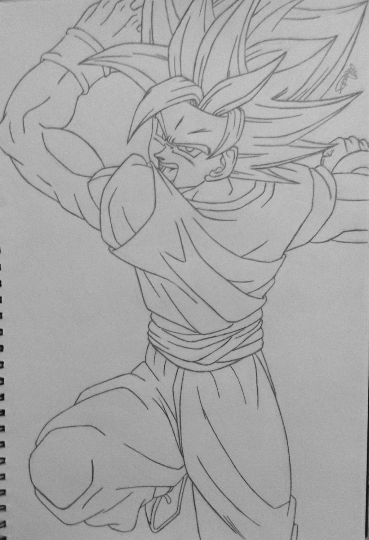 Goku Super Saiyan 2 Line Art by Conzibar on DeviantArt