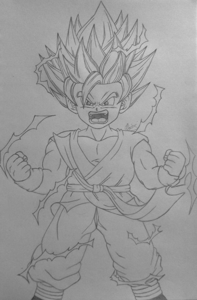 Kid Goku Super Saiyan 2 Line Art by Conzibar on DeviantArt