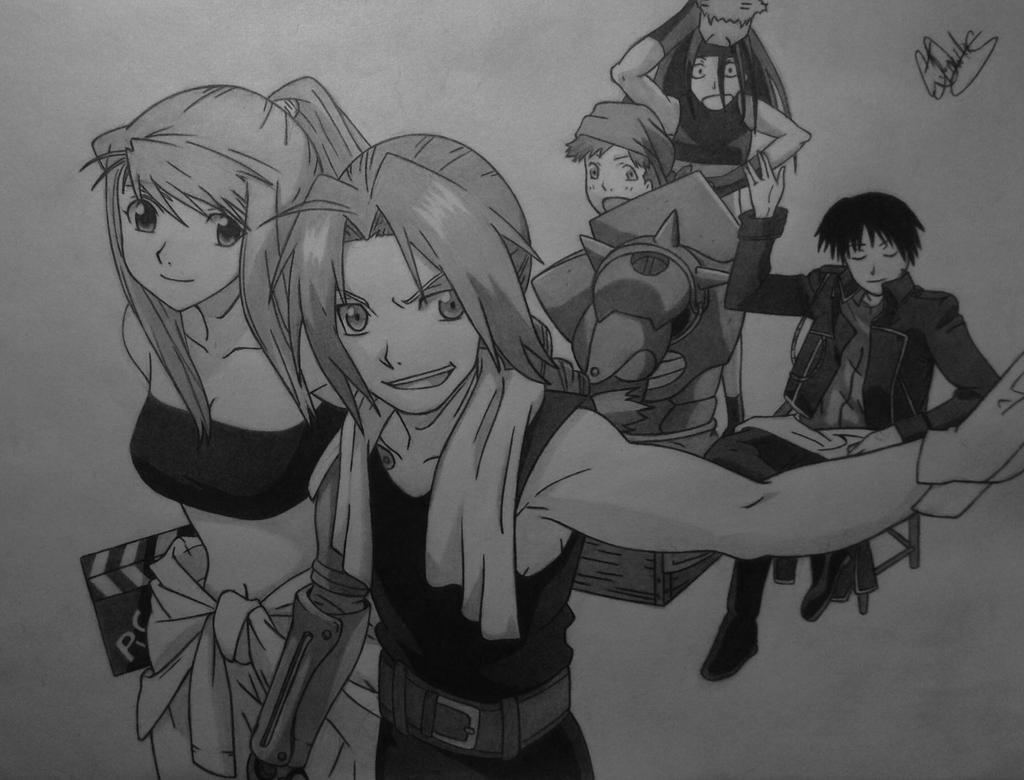 Ed, Winry, Alphonse, Roy, Envy by Conzibar