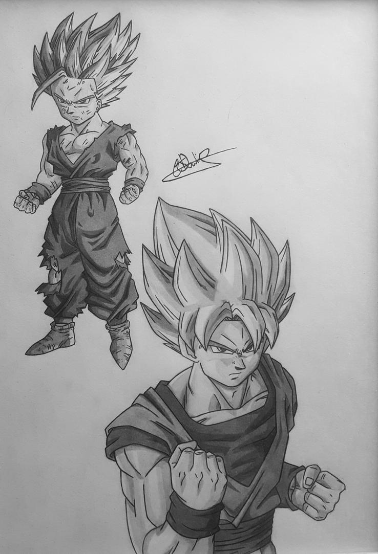 Goku and Gohan by Conzibar