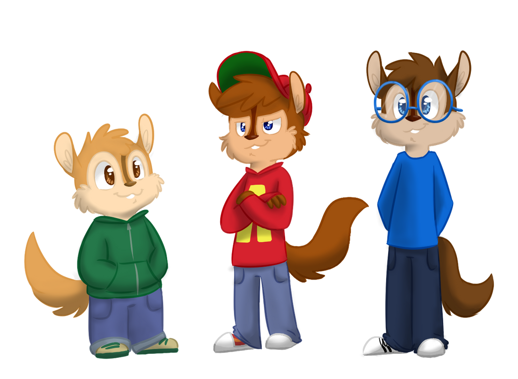 my ordered custom designs of chipmunks by XxalvinxX