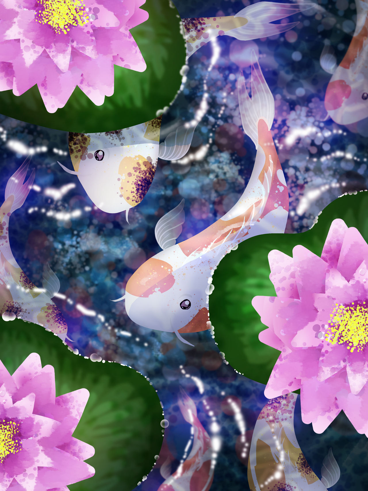 Koi Pond Digital Painting - DA Mouse Challenge